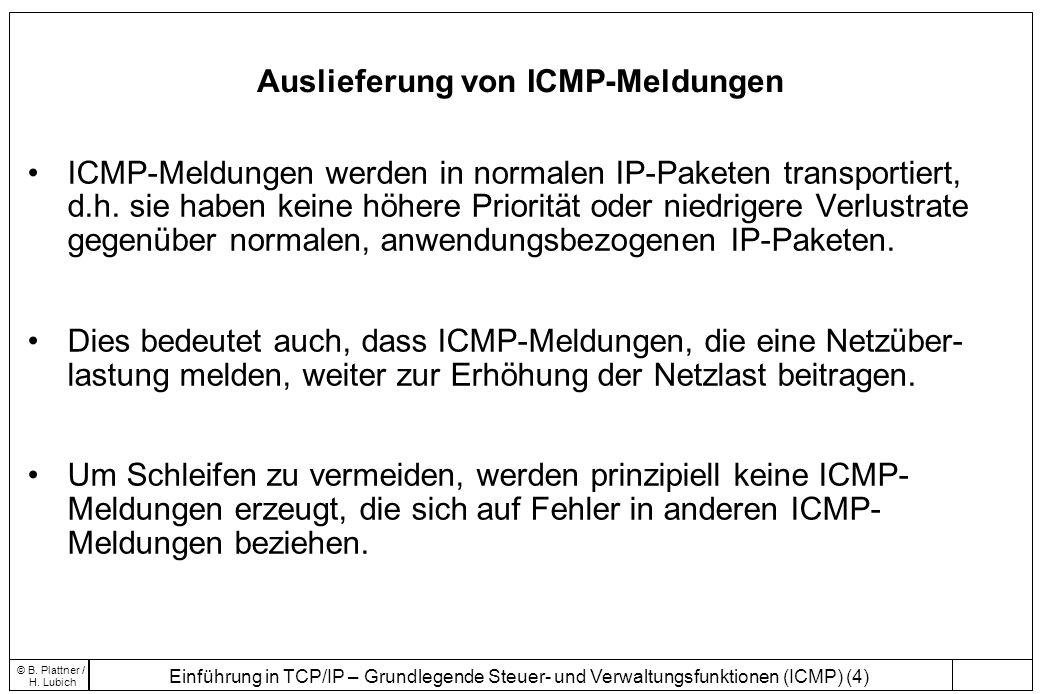 Auslieferung von ICMP-Meldungen