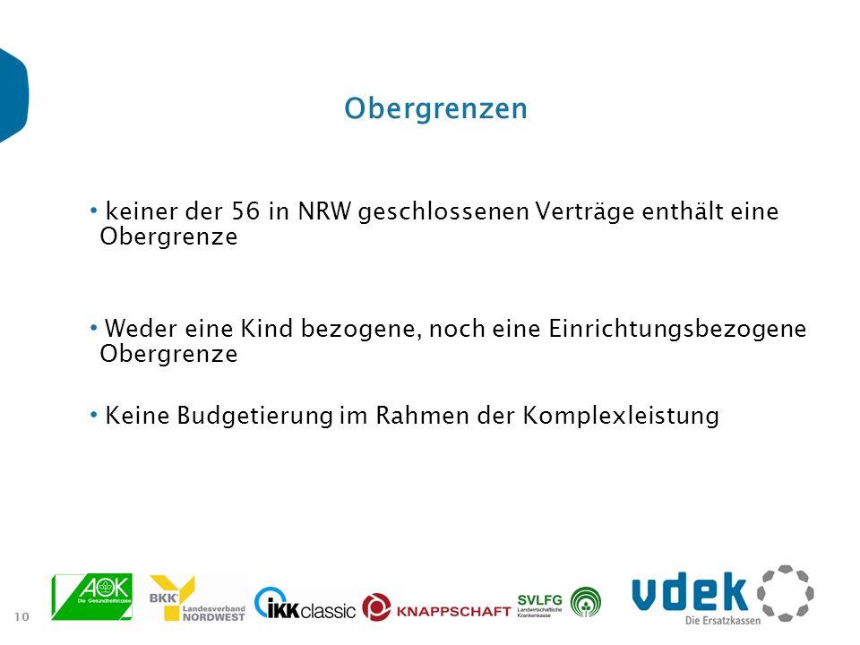 Obergrenzen keiner der 56 in NRW geschlossenen Verträge enthält eine Obergrenze. Weder eine Kind bezogene, noch eine Einrichtungsbezogene Obergrenze.