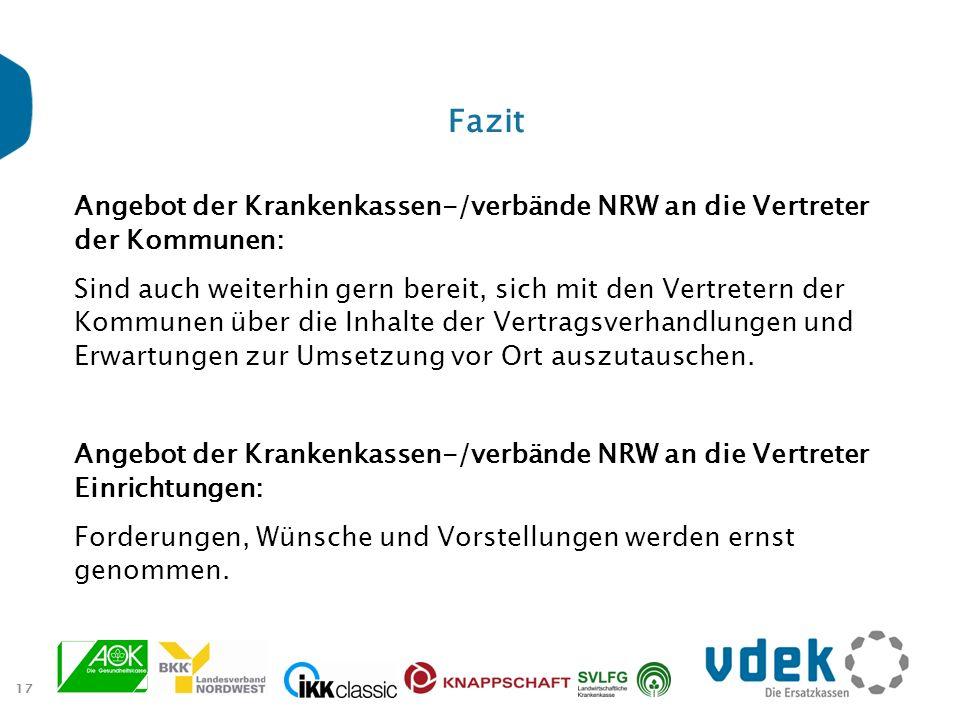 Fazit Angebot der Krankenkassen-/verbände NRW an die Vertreter der Kommunen: