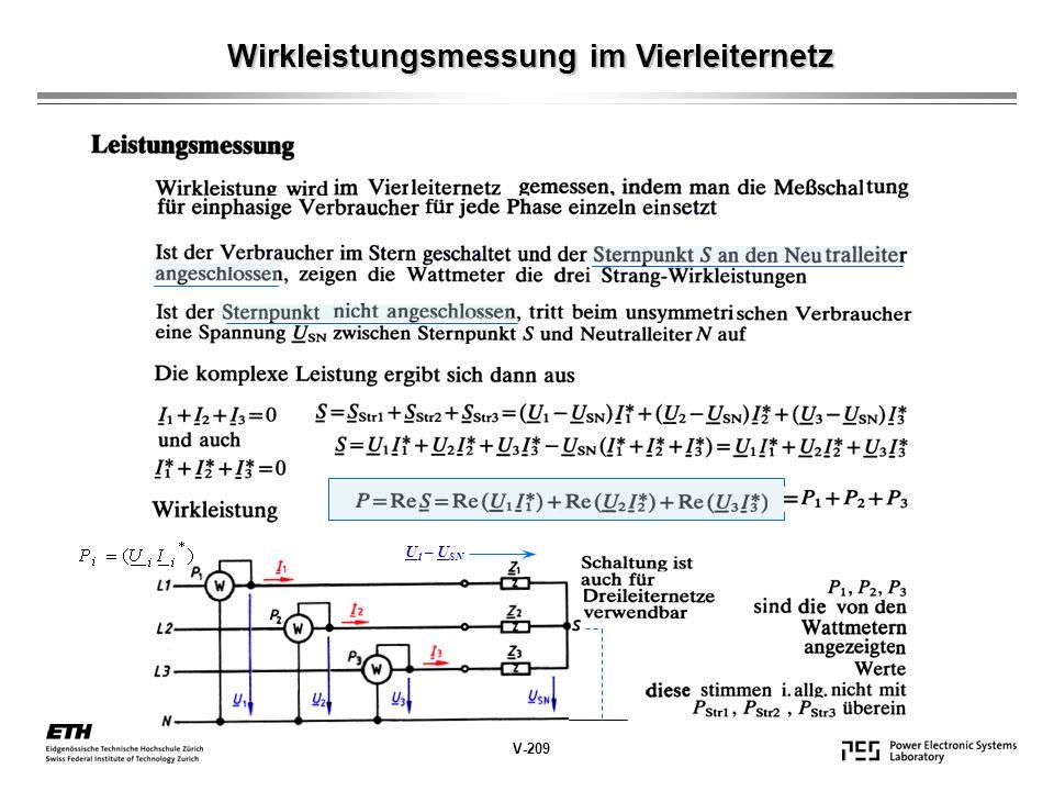 Wirkleistungsmessung im Vierleiternetz