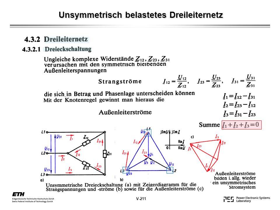 Unsymmetrisch belastetes Dreileiternetz