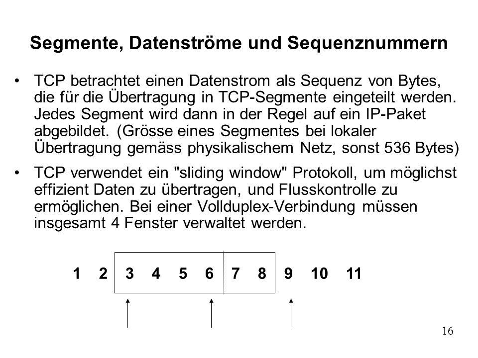 Segmente, Datenströme und Sequenznummern