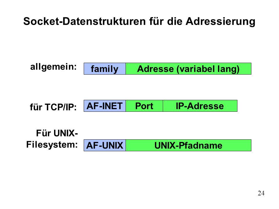 Socket-Datenstrukturen für die Adressierung