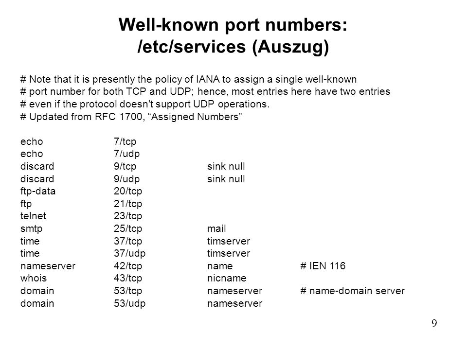 Well-known port numbers: /etc/services (Auszug)