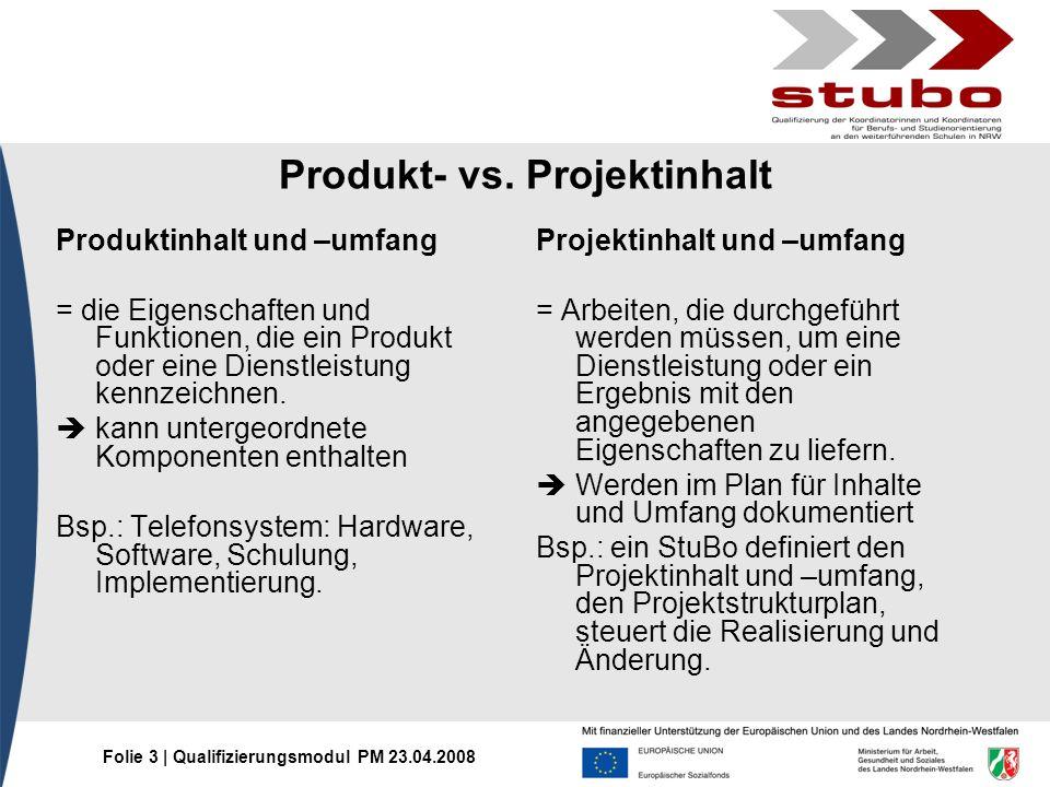 Produkt- vs. Projektinhalt