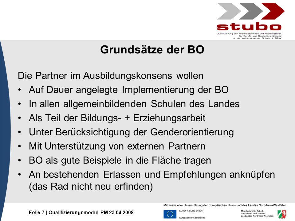 Grundsätze der BO Die Partner im Ausbildungskonsens wollen
