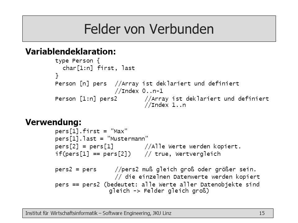 Felder von Verbunden Variablendeklaration: Verwendung: type Person {