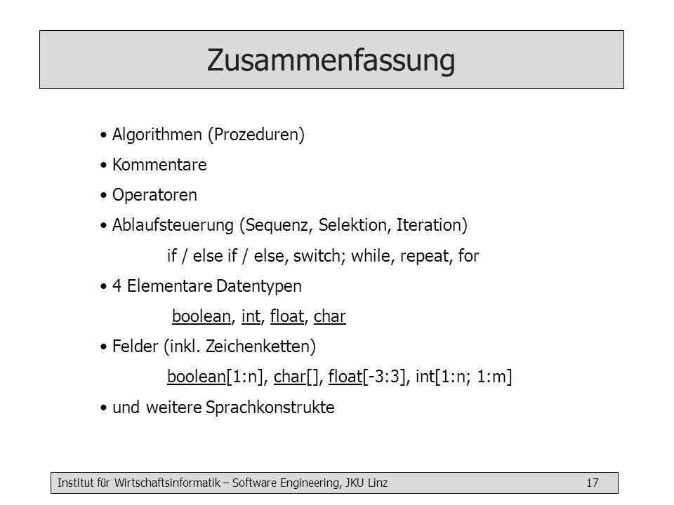 Zusammenfassung Algorithmen (Prozeduren) Kommentare Operatoren