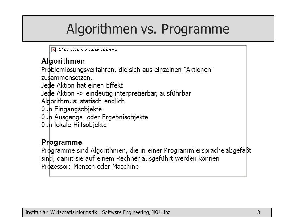 Algorithmen vs. Programme