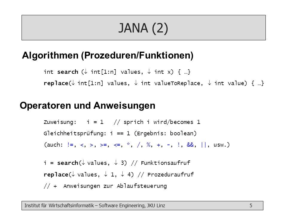 JANA (2) Algorithmen (Prozeduren/Funktionen)