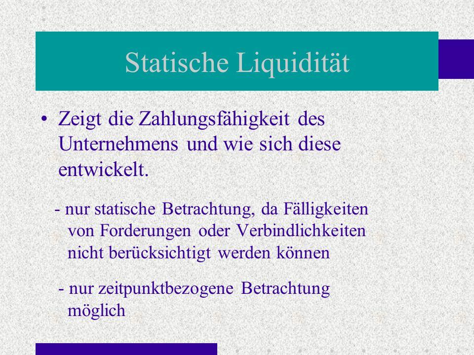 Statische Liquidität Zeigt die Zahlungsfähigkeit des Unternehmens und wie sich diese entwickelt.