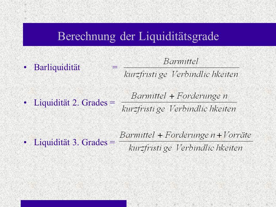 Berechnung der Liquiditätsgrade