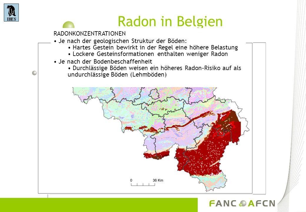 Radon in Belgien RADONKONZENTRATIONEN