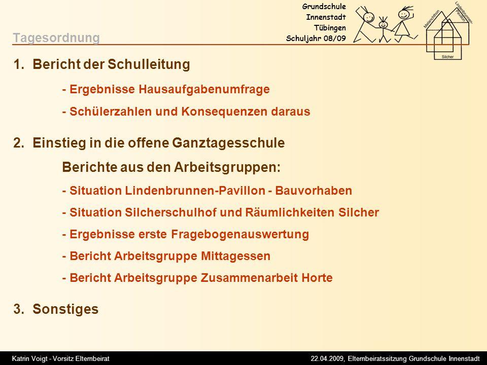 Tagesordnung 1. Bericht der Schulleitung - Ergebnisse Hausaufgabenumfrage - Schülerzahlen und Konsequenzen daraus.