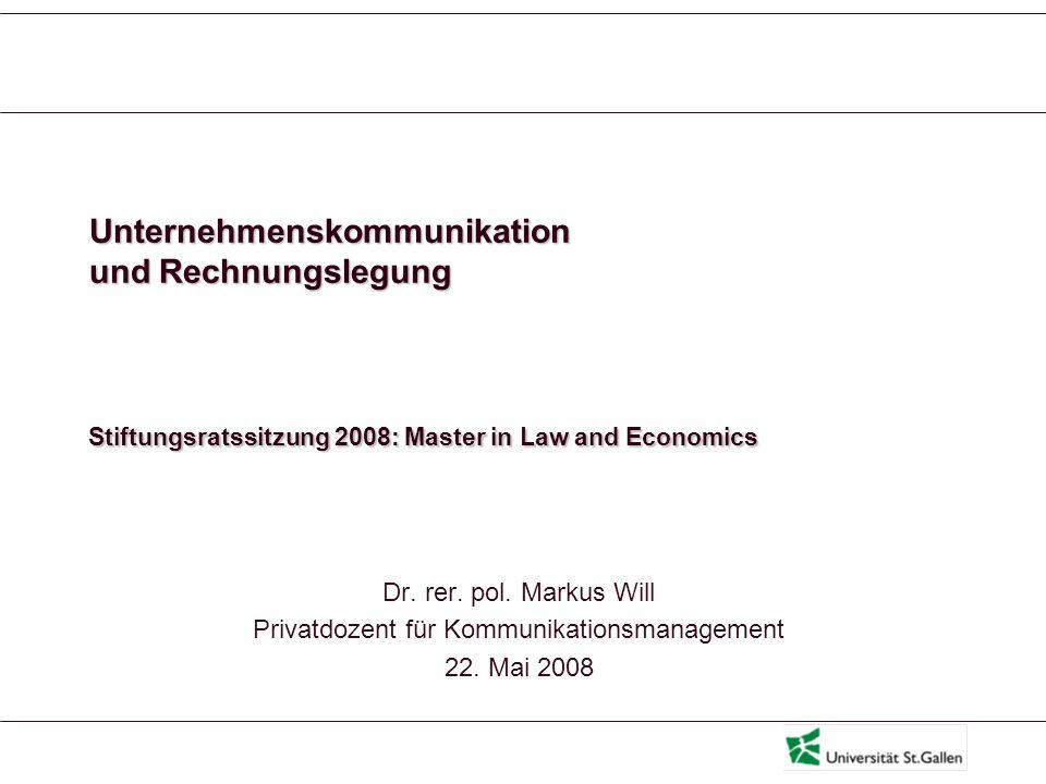 Unternehmenskommunikation und Rechnungslegung: