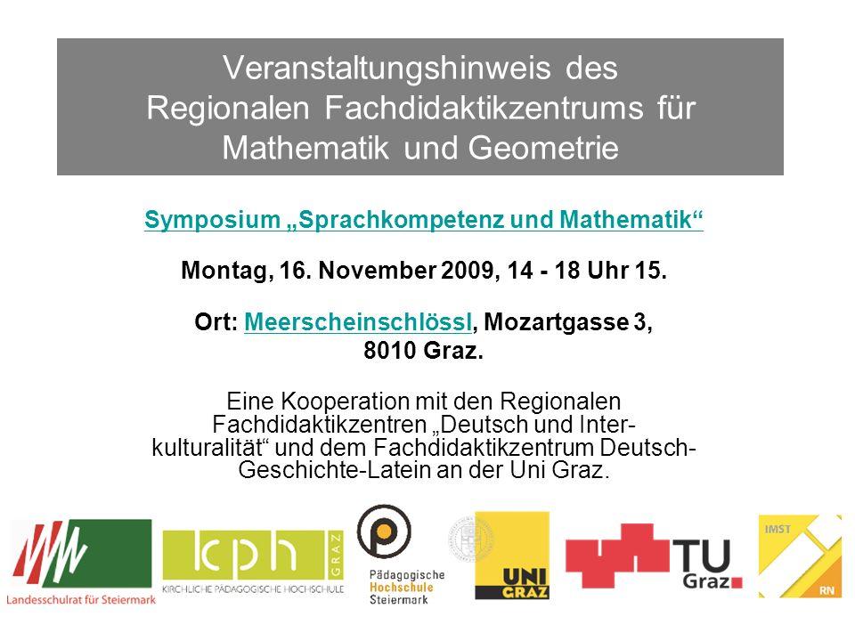 Veranstaltungshinweis des Regionalen Fachdidaktikzentrums für Mathematik und Geometrie