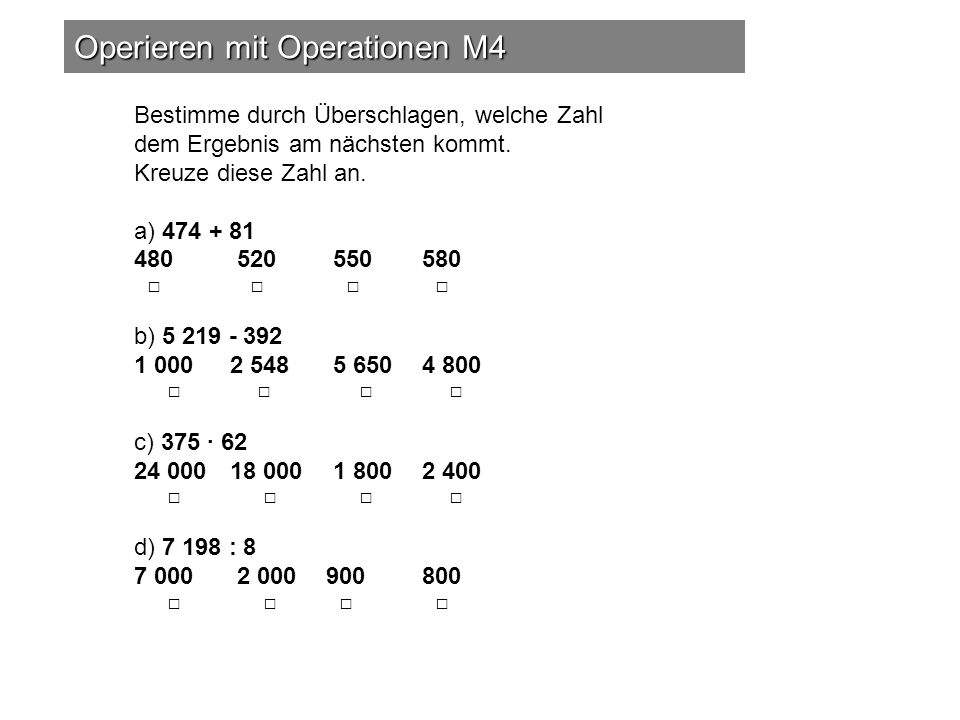 Operieren mit Operationen M4