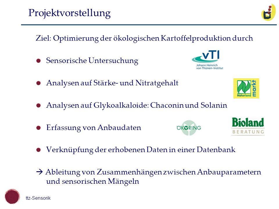Projektvorstellung Ziel: Optimierung der ökologischen Kartoffelproduktion durch. Sensorische Untersuchung.
