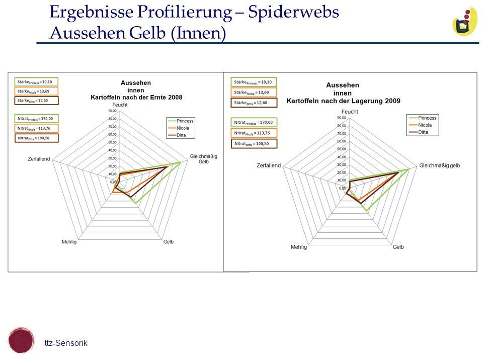 Ergebnisse Profilierung – Spiderwebs Aussehen Gelb (Innen)