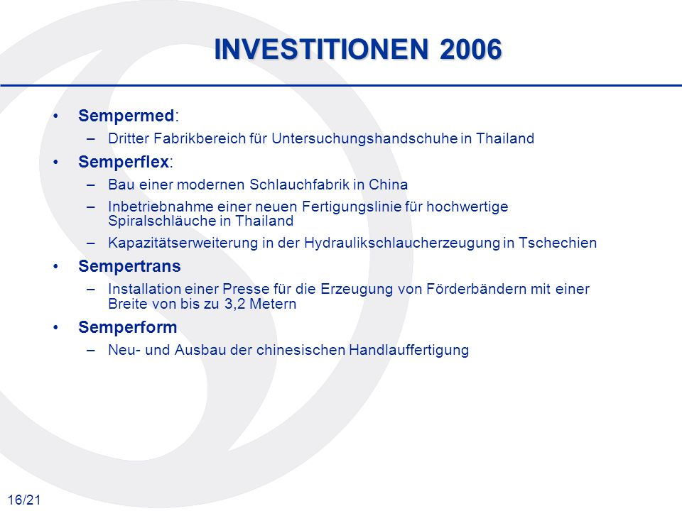 INVESTITIONEN 2006 Sempermed: Semperflex: Sempertrans Semperform