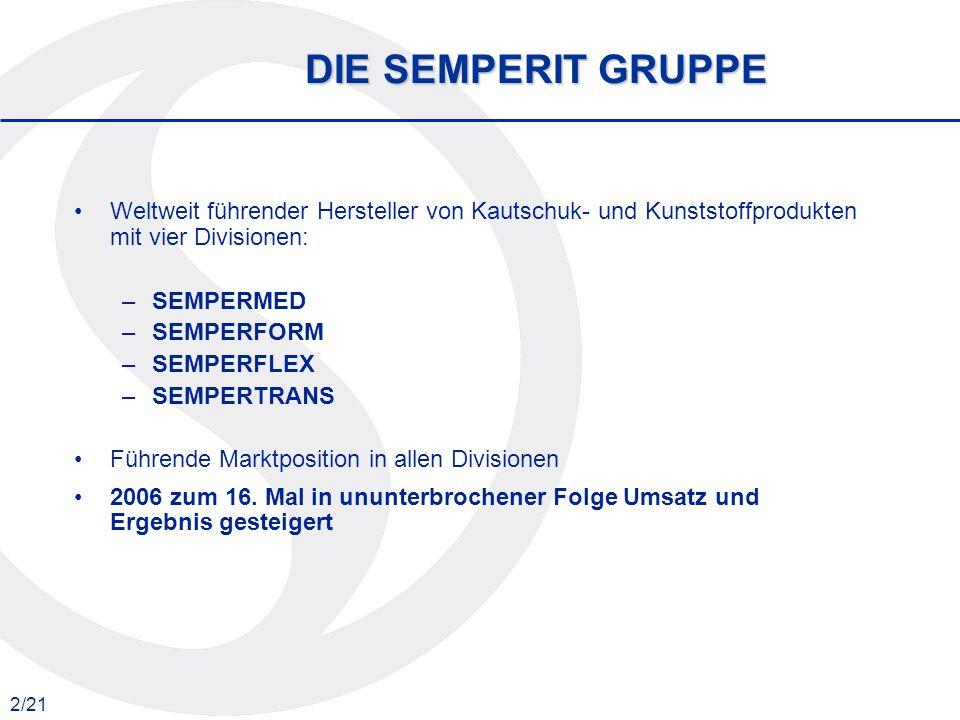DIE SEMPERIT GRUPPE Weltweit führender Hersteller von Kautschuk- und Kunststoffprodukten mit vier Divisionen: