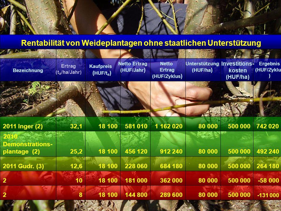 Rentabilität von Weideplantagen ohne staatlichen Unterstützung