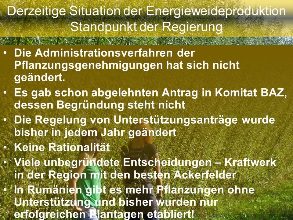 Derzeitige Situation der Energieweideproduktion Standpunkt der Regierung