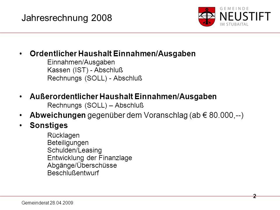Jahresrechnung 2008 Ordentlicher Haushalt Einnahmen/Ausgaben Einnahmen/Ausgaben. Kassen (IST) - Abschluß Rechnungs (SOLL) - Abschluß.