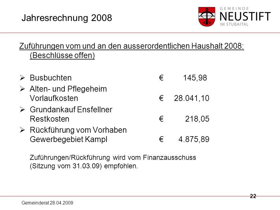 Jahresrechnung 2008 Zuführungen vom und an den ausserordentlichen Haushalt 2008: (Beschlüsse offen)