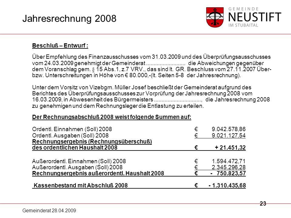 Jahresrechnung 2008
