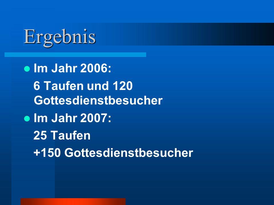 Ergebnis Im Jahr 2006: 6 Taufen und 120 Gottesdienstbesucher