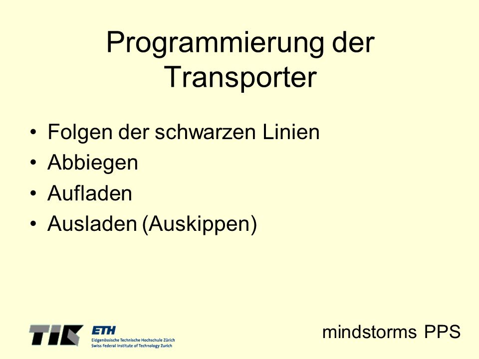 Programmierung der Transporter