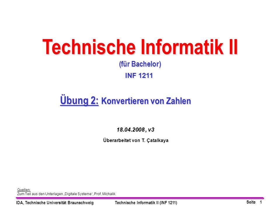 Technische Informatik II Übung 2: Konvertieren von Zahlen