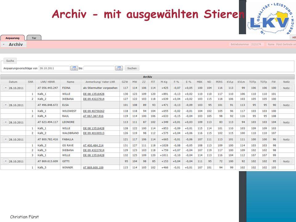 Archiv - mit ausgewählten Stieren