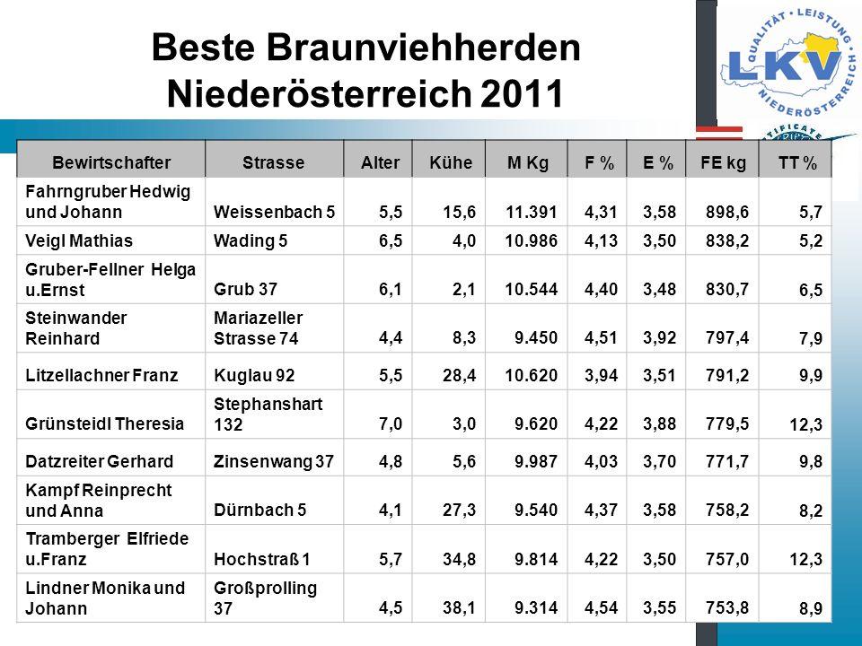 Beste Braunviehherden Niederösterreich 2011
