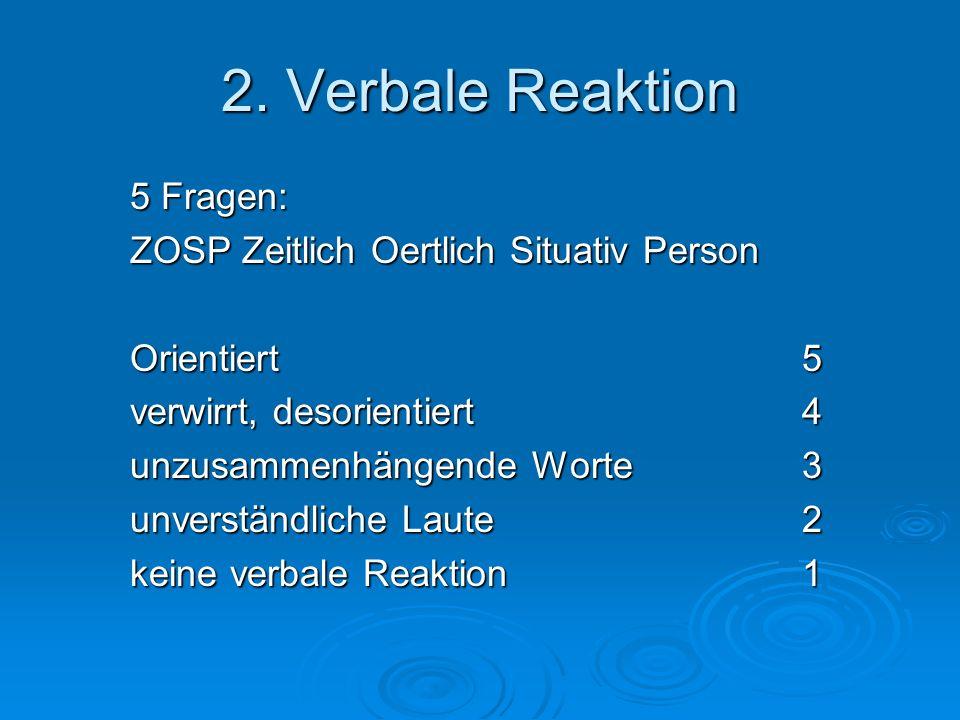 2. Verbale Reaktion 5 Fragen: ZOSP Zeitlich Oertlich Situativ Person