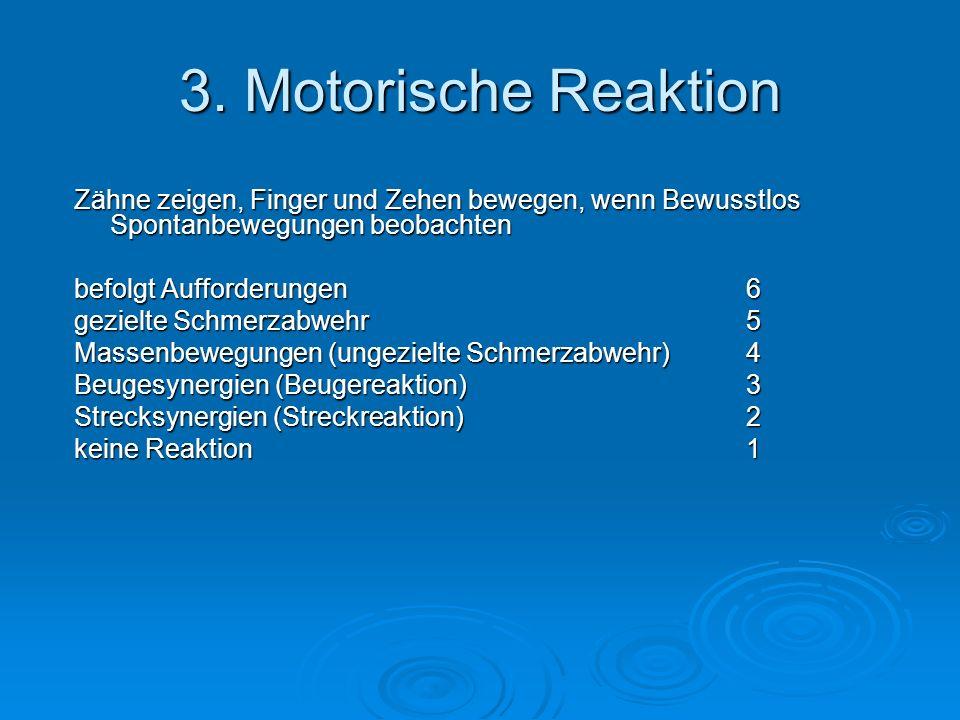 3. Motorische Reaktion Zähne zeigen, Finger und Zehen bewegen, wenn Bewusstlos Spontanbewegungen beobachten.
