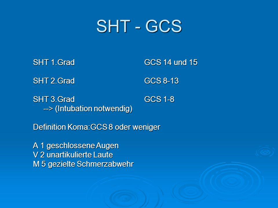 SHT - GCS SHT 1.Grad GCS 14 und 15 SHT 2.Grad GCS 8-13