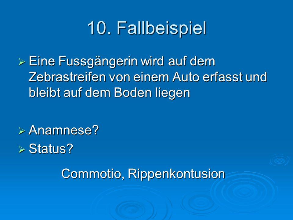 10. Fallbeispiel Eine Fussgängerin wird auf dem Zebrastreifen von einem Auto erfasst und bleibt auf dem Boden liegen.