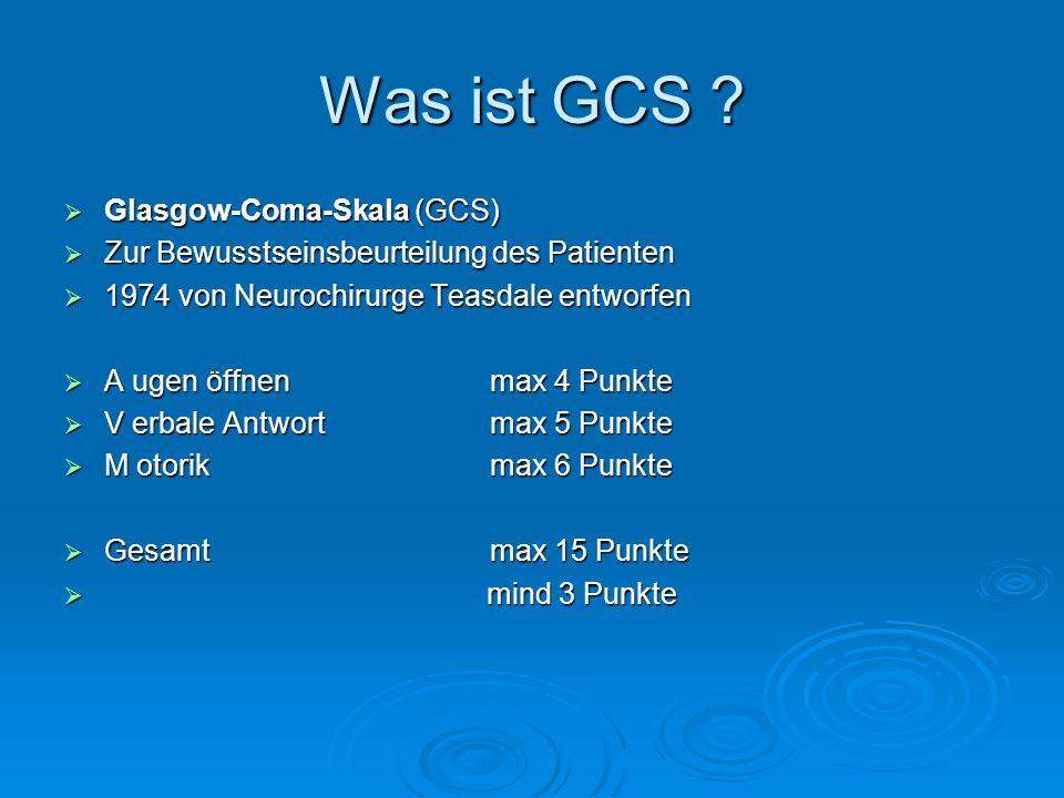 Was ist GCS Glasgow-Coma-Skala (GCS)