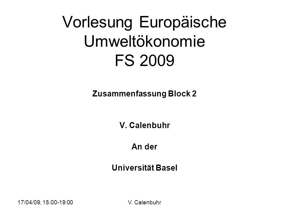 Vorlesung Europäische Umweltökonomie FS 2009