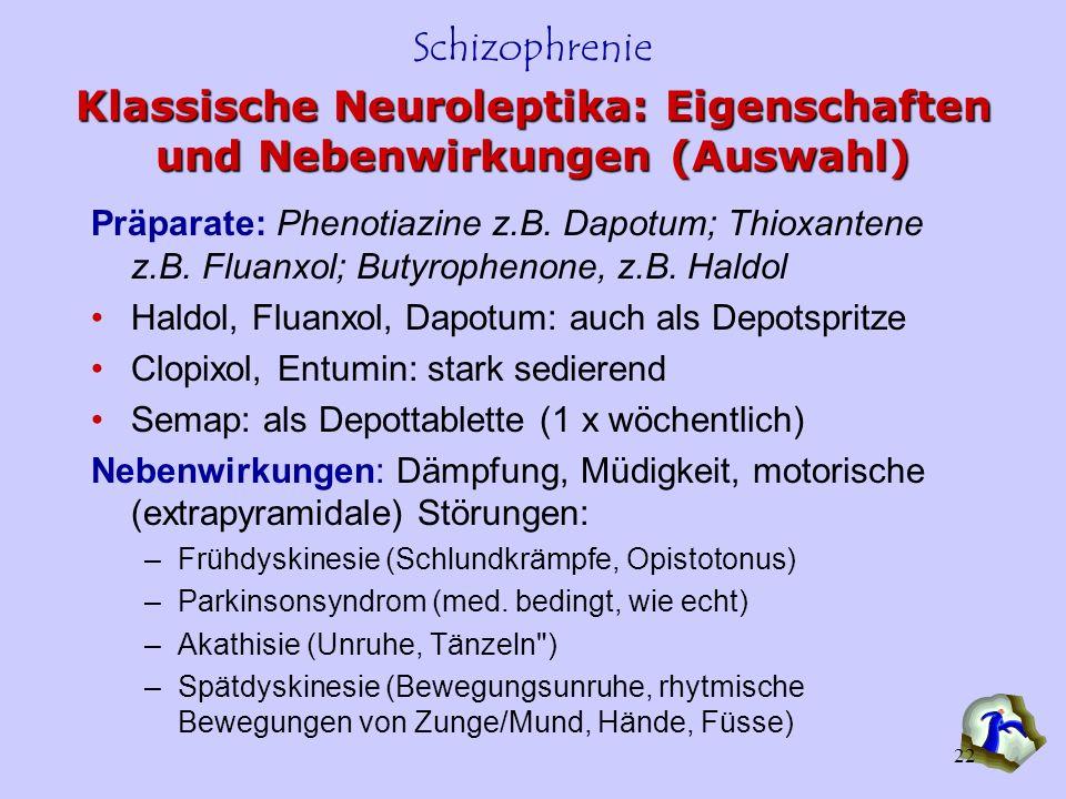 Klassische Neuroleptika: Eigenschaften und Nebenwirkungen (Auswahl)