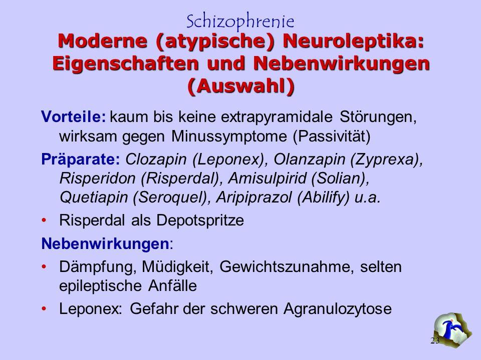 Moderne (atypische) Neuroleptika: Eigenschaften und Nebenwirkungen (Auswahl)
