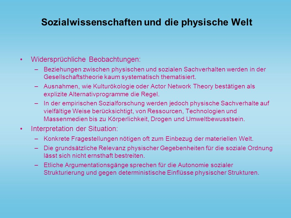 Sozialwissenschaften und die physische Welt
