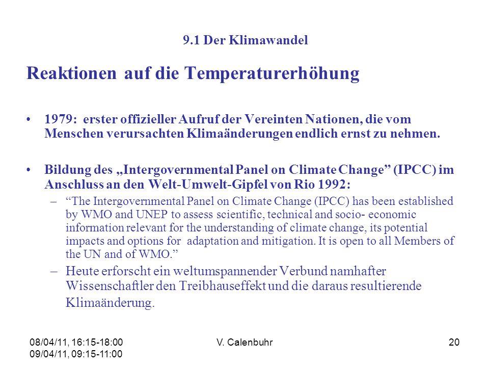 Reaktionen auf die Temperaturerhöhung