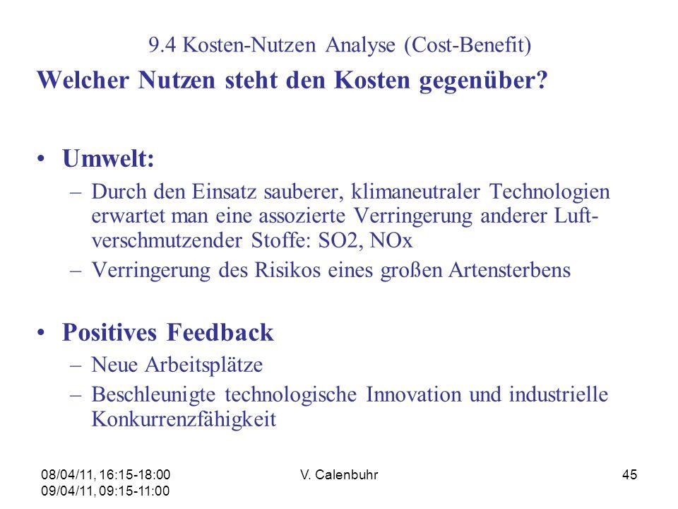 9.4 Kosten-Nutzen Analyse (Cost-Benefit)