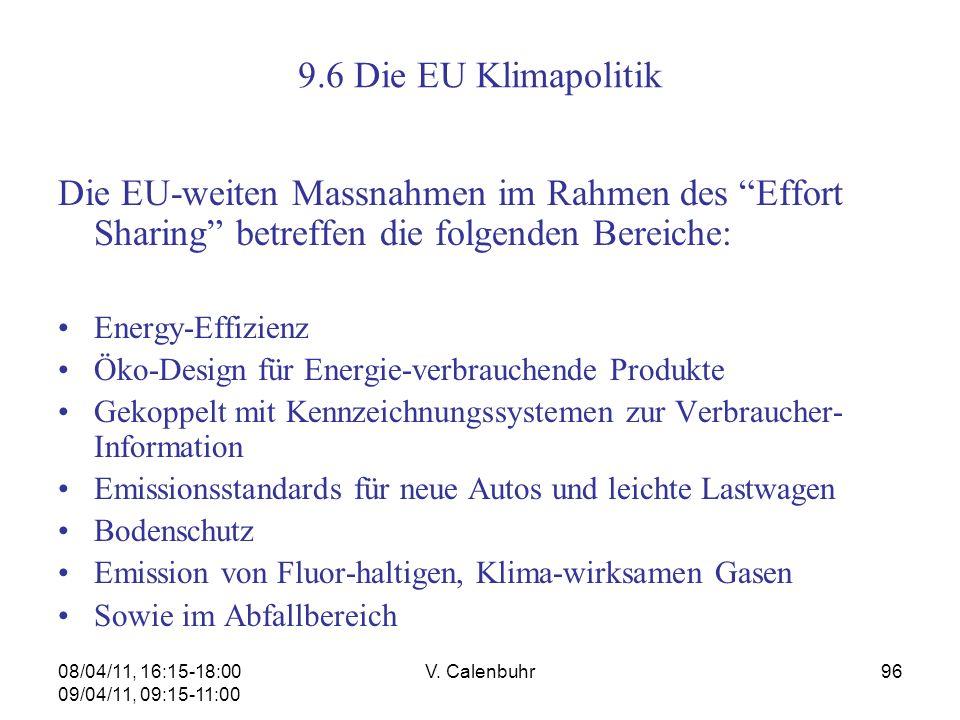 9.6 Die EU Klimapolitik Die EU-weiten Massnahmen im Rahmen des Effort Sharing betreffen die folgenden Bereiche: