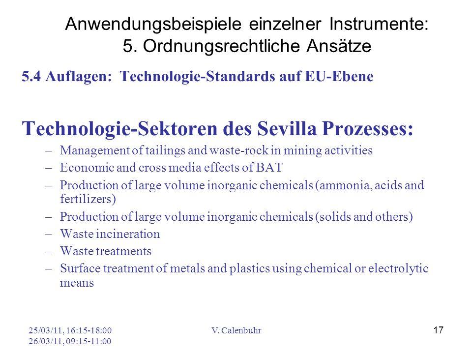 Technologie-Sektoren des Sevilla Prozesses:
