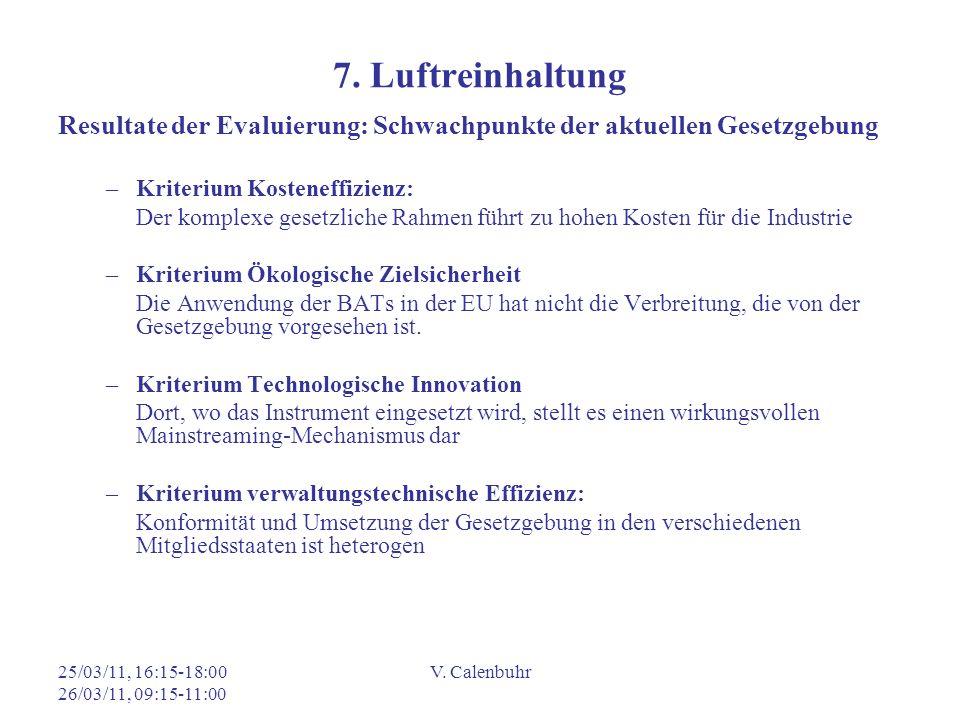 7. Luftreinhaltung Resultate der Evaluierung: Schwachpunkte der aktuellen Gesetzgebung. Kriterium Kosteneffizienz: