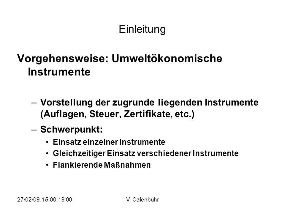 Vorgehensweise: Umweltökonomische Instrumente